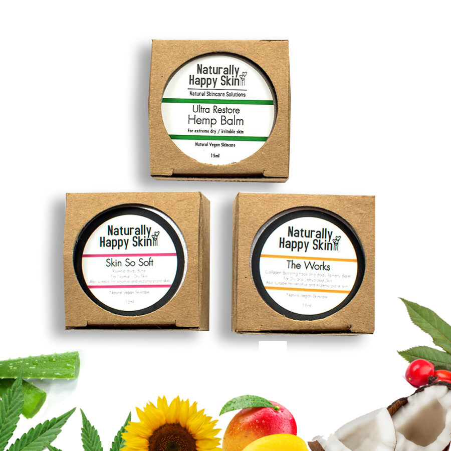 15ml Trio, Skin So Soft, Hemp Balm & The Works | Naturally Happy Skin
